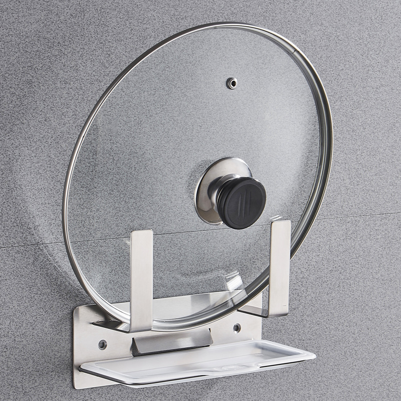 Manufacturers Hole Punched 304 Stainless Steel Pot Cover Holder Multi-functional Kitchen Shelves Wall Hanging Cutting Board Stor