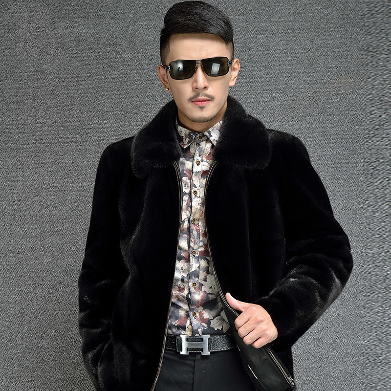Mens Mink Coat Real Fur Men Warm Winter Jacket Brown Natural Fur Coats And Jackets Short Luxury Overcoat Man 6906 KJ1405
