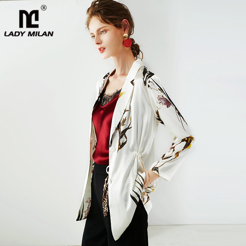 100% Silk Women's Blazers Notched Collar Long Sleeves Printed Fashion High Street Suits Outerwear