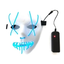 Led Mask Halloween Party Masque Masquerade Masks Neon Maske Light Glow In The Dark Mascara Horror Maska Glowing Purge