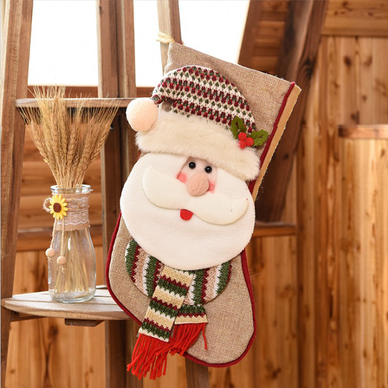 Christmas decorations large hot three-dimensional stockings Santa snowma