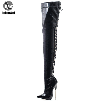 jialuowei Women Boots Sexy 18cm High Heels Metal Thin Heels Woman Pointed toe Cross tied Over Knee Thigh High Dancing Party Boot red patent leather woman long boots cross tied knee high boot hot fashion model fun club party female booties thin heel shoes