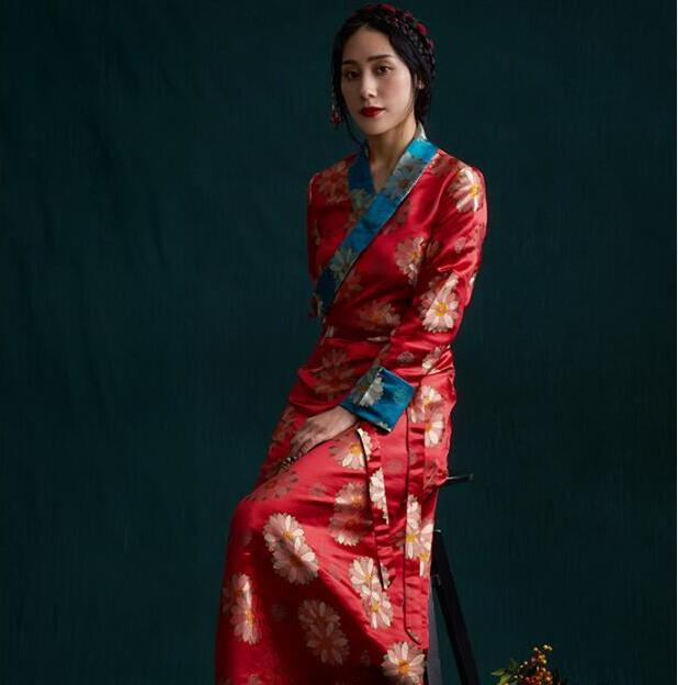 South Asia Nepal Tibet Himalayan Areas Travel Costume Woman Lady Girl Clothing Oriental Chinese Moden Long Robe Tibetan Dress