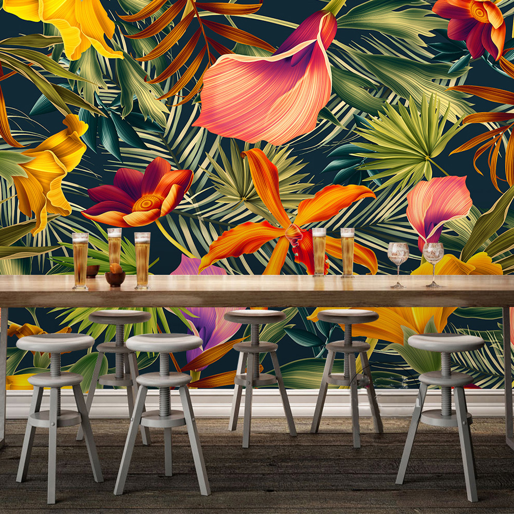 Custom-Wall-Mural-Tropical-Rainforest-Plant-Flowers-Banana-Leaves-Backdrop-Painted-Living-Room-Bedroom-Large-Mural (3)