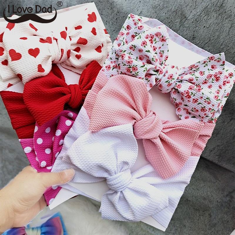 Baby Headband Turban-Set Hair-Accessories Bows Floral Bowknot Elastic Newborn Summer