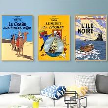 Camel desierto Tintin aventura cómics dibujos animados Retro Vintage clásico póster lienzo pintura arte pared pegatina Bar decoración del hogar regalo