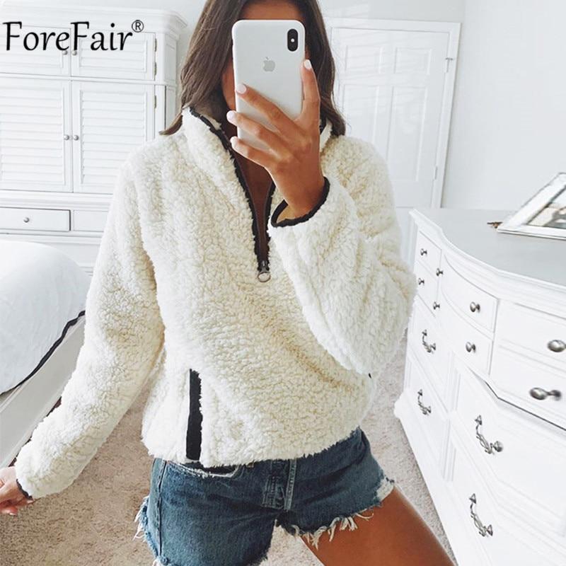 Forefair Zipper Turtleneck Fleece Fur Hoodie Women Autumn Winter Pocket Long Sleeve Pullover Plush Warm White Sweatshirt