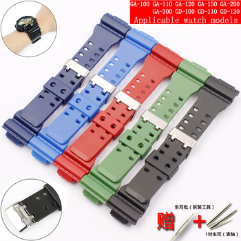 Watch accessories 16mm pin buckle For Casio resin strap G-SHOCK GA GLS GD 110100120 men and women rubber sports watch case недорого