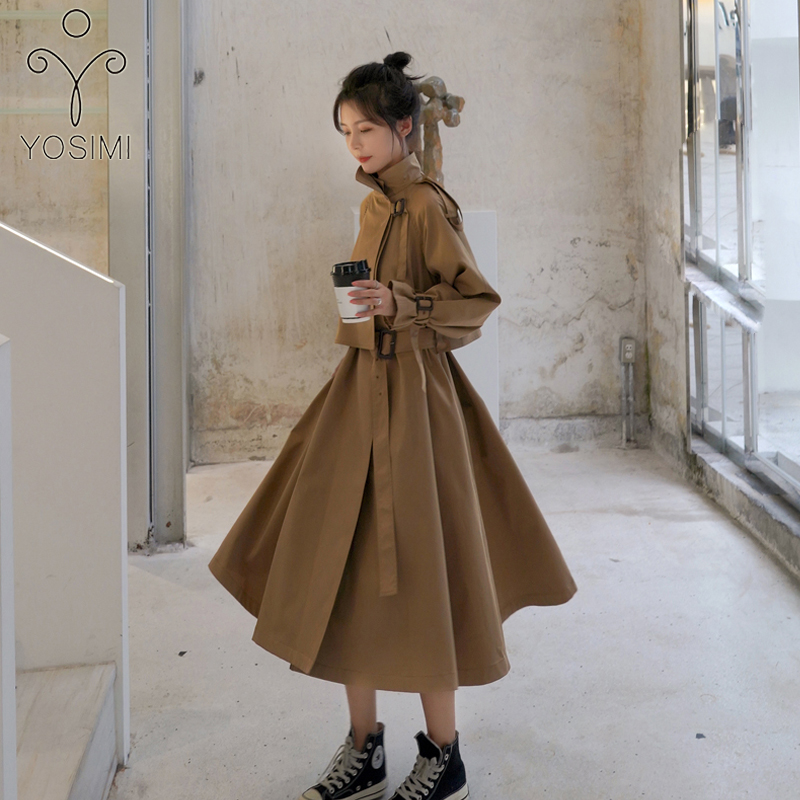 YOSIMI Long Outerwear Khaki   trench   2019 Autumn Winter Loose Full Sleeve Women Long   Trench   Coat Skirt Clothes Belt England Style