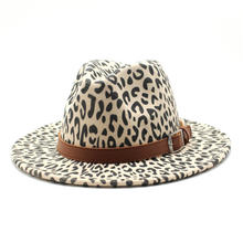 Шляпа Федора женская винтажная фетровая шерстяная шляпа с леопардовым