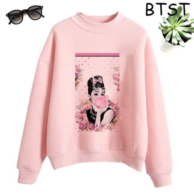 Audrey Hepburn Pink Bubble Kpop Clothes Polyester White Sweatshirt Pullovers Women Sweatshirt Japanese Gothic Harajuku Shirt 5