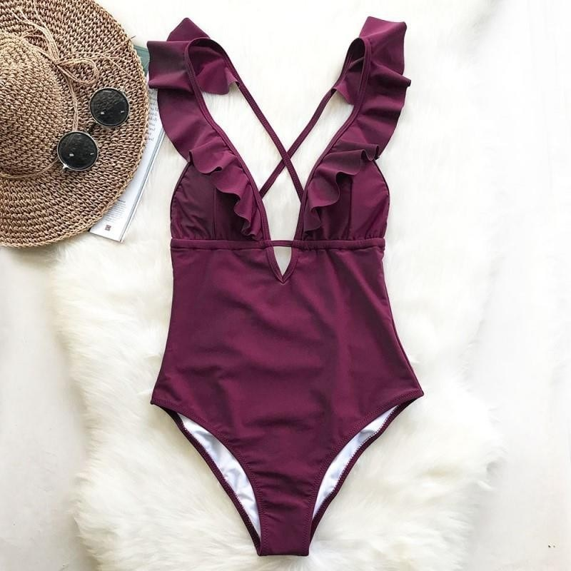 <font><b>Bikini</b></font> <font><b>Sexy</b></font> Swimsuit For Women With V-<font><b>neck</b></font> Ruffle Swimming Suit Biquini 2019 New Beach Swimsuit For Women Swimwear Beachwear Set image