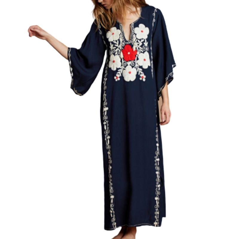 <font><b>Womens</b></font> <font><b>Sexy</b></font> <font><b>Cut</b></font> Out V-Neck Drawstring Kaftans Swimsuit Cover Up Floral Embroidered Maxi Beach <font><b>Dress</b></font> Pullover Loose Long Robe image
