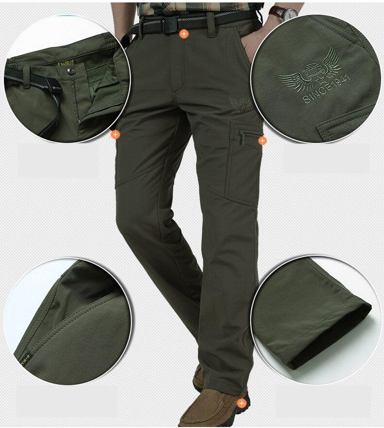 Warm Fleece Winter Pants Thicken Men Zipper Waterproof Work Casual Pants Men Military Tactical Cargo Pants Male Trousers 4XL 2