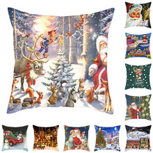 Fuwatacchi Christmas Style Animals Cushion Cover Santa Claus Pillow Case Home Decorative White Pillows For Sofa Car Seat