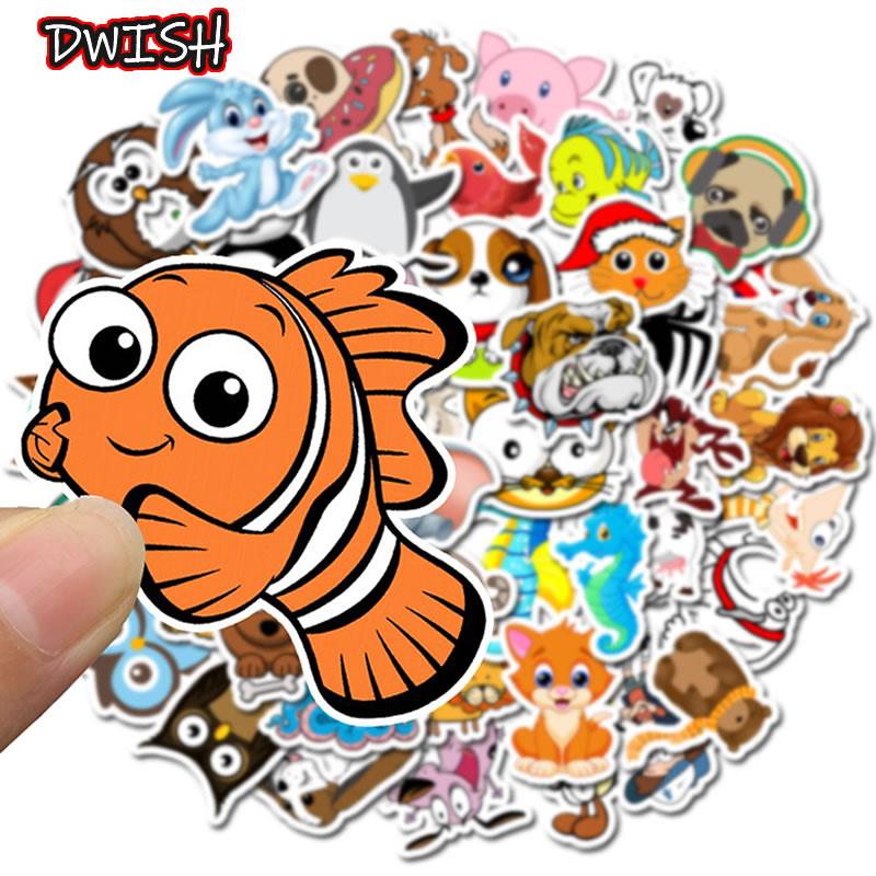 50pcs/Pack Cute Animal Clownfish Waterproof Graffiti Stickers Guitar Suitcase Skateboard Girl Children Sticker Kids Classic Toy