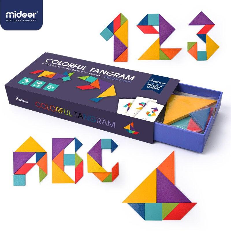 MiDeer Children's Creative Jigsaw Puzzle Toys For Children  Mental Development Tangram Wooden Educational Toys For Kids  > 6Y
