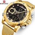 Новые часы NAVIFORCE Топ бренд класса люкс золотые кварцевые мужские часы водонепроницаемые большие спортивные наручные часы из нержавеющей ст...