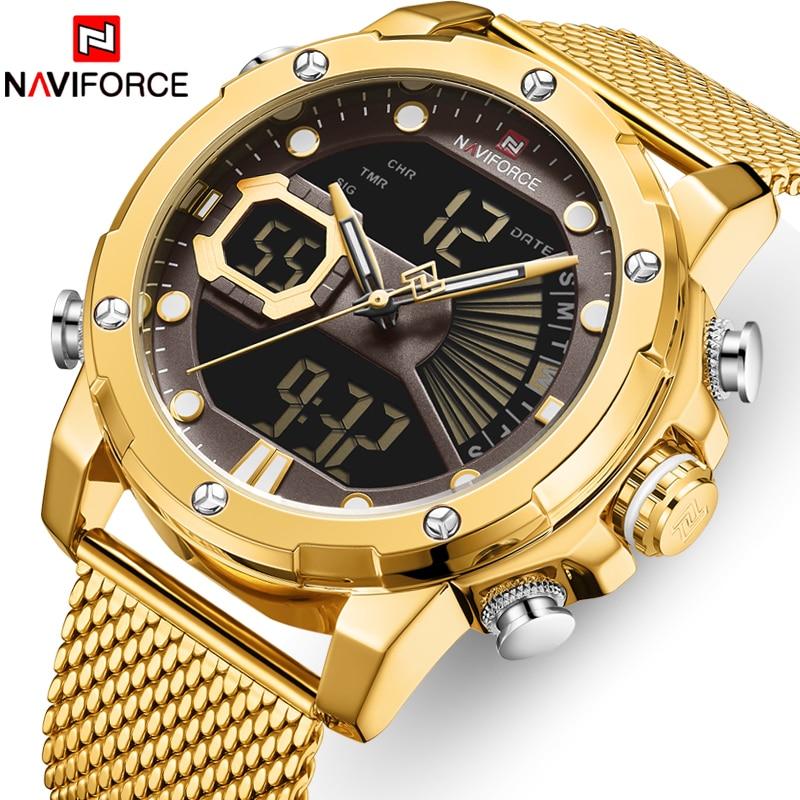 New Watches NAVIFORCE Top Brand Luxury Gold Quartz Mens Watch Waterproof Big Sport Wrist Watch Stainless Steel Date Reloj Hombre