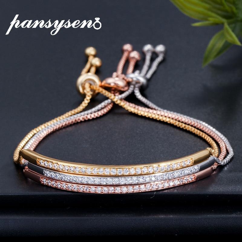 PANSYSEN Luxury Bohemia Diamond Silver 925 Jewelry Adjustable Bracelets For Women Fashion Wedding Party Fine Jewelry Bracelet