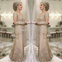 Long Sleeves 2019 Mother Of The Bride Dresses Mermaid Appliques Lace Beaded Plus Size Long Groom Mother Dresses For Weddings
