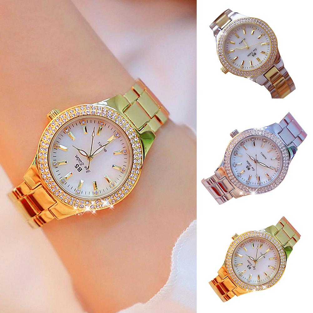 Fashion Women Rhinestone Round Dial Alloy Linked Strap Analog Quartz Wrist Watch Ladies Dress Watches Gift Luxury Christmas Gift