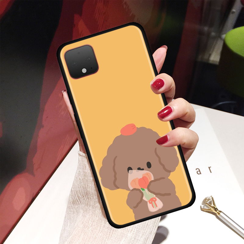 Cute Cartoon Beer Cat Girl Case For Google Pixel 4 XL 4 4A Cover For Google Pixel 5 4G 5G Soft Silicone Black Shell Cover Coque