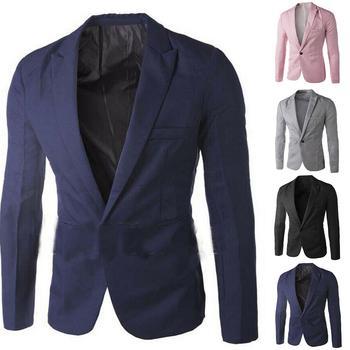 Men Solid Color Long Sleeve Lapel One Button Pocket Blazer Slim-Fit Suit Coat Blazer Korean Style Slim Men Suit Coat Casual Coat