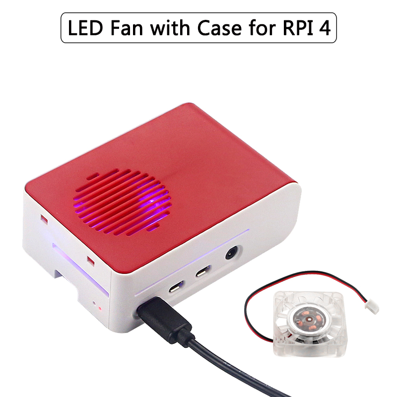 New Raspberry Pi 4 ABS Case with Backlight RGB LED Fan Plastic Red White Shell Housing for Raspberry Pi 4 Model B