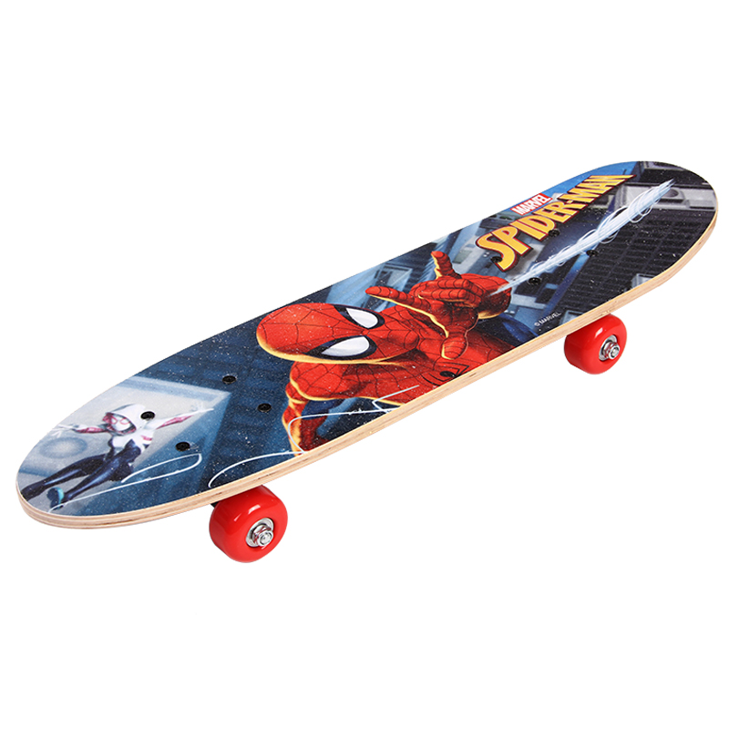 Marvel Cartoon Childern Skateboard Spider Man  Longboard Marple Double Rocker For 4-10years Old