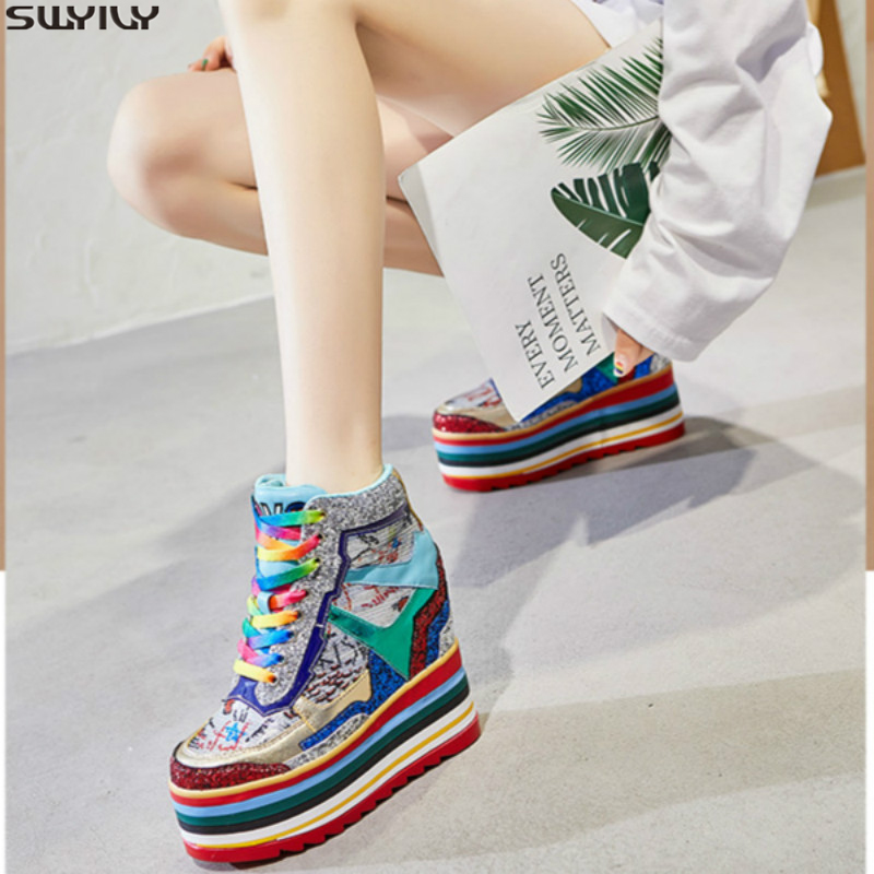 SWYIVY Rainbow Chunky Sneakers Women Casual Wedge Shoes Woman 2020 Spring Super High Heel Bliing Platform Sneakers For Women 34