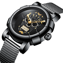 BIDEN Relogio Masculino New Arrival Male Watches Fashion Skull Bone Design Black Dial Sport Wrist Watch Stainless Steel Mesh Band Waterproof Montre Homme Special Party Dress Clock Dropship Wholesale special design fashion turntable dial paidu net mesh steel band wrist quartz watch men women relogio masculino male clock gift