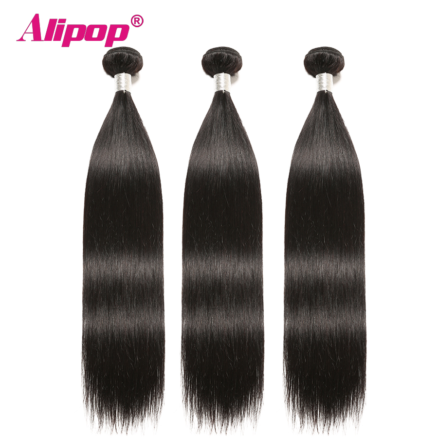 Alipop Hair Straight Hair Bundles With Closure Peruvian Hair 3 Bundles With Closure Remy 100% Human Hair Bundles With Closure