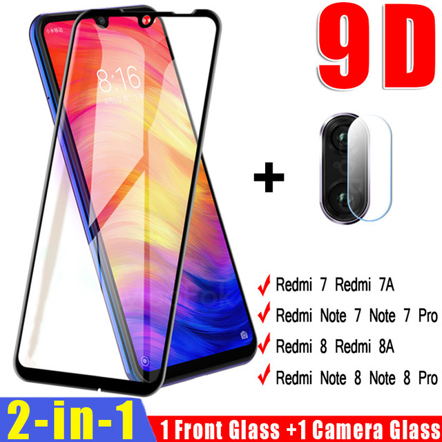 2 in 1 Camera Lens Tempered Glass For Xiaomi Redmi Note 7 8 Pro 8T Screen Protector On The For Redmi 8 8A 7 7A Protective Glass