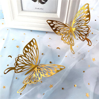 12Pcs 3D Wall Stickers Hollow Rose gold/Golden/Silver Butterfly Wall Stickers DIY Art Home Decor Wall Decals Wedding decoration