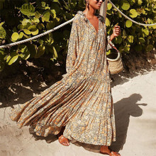 Women V-neck Print Dress Summer Beach Maxi Dress Women High Waist Long Sleeve Dresses Robe