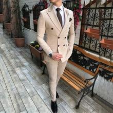 Новинка, бежевый мужской костюм, 2 предмета, двубортный, с отворотом, на плоской подошве, приталенный, повседневный смокинг для свадьбы(Блейзер+ брюки