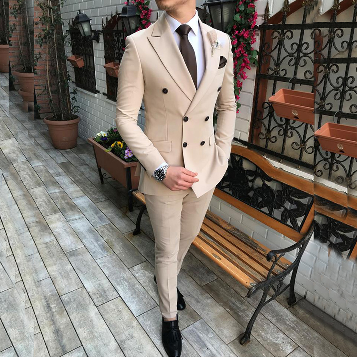 2020 New Beige Mens Suit 2 Pieces Double-breasted Notch Lapel Flat Slim Fit Casual Tuxedos For Wedding Blazer Pants