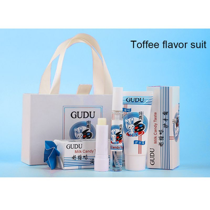 3pcs/set White Rabbit Toffee Flavor Hand Cream + Moisturizing Lip Balm +Perfume Sweet Lip Balm Maquiagem Valentine's Day Gift