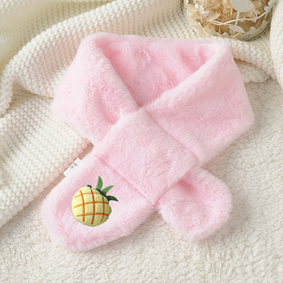 Autumn And Winter Versatile New Style Cartoon Pineapple Faux Rabbit Fur Autumn And Winter CHILDREN'S Scarf Warm Thick Cross Scar