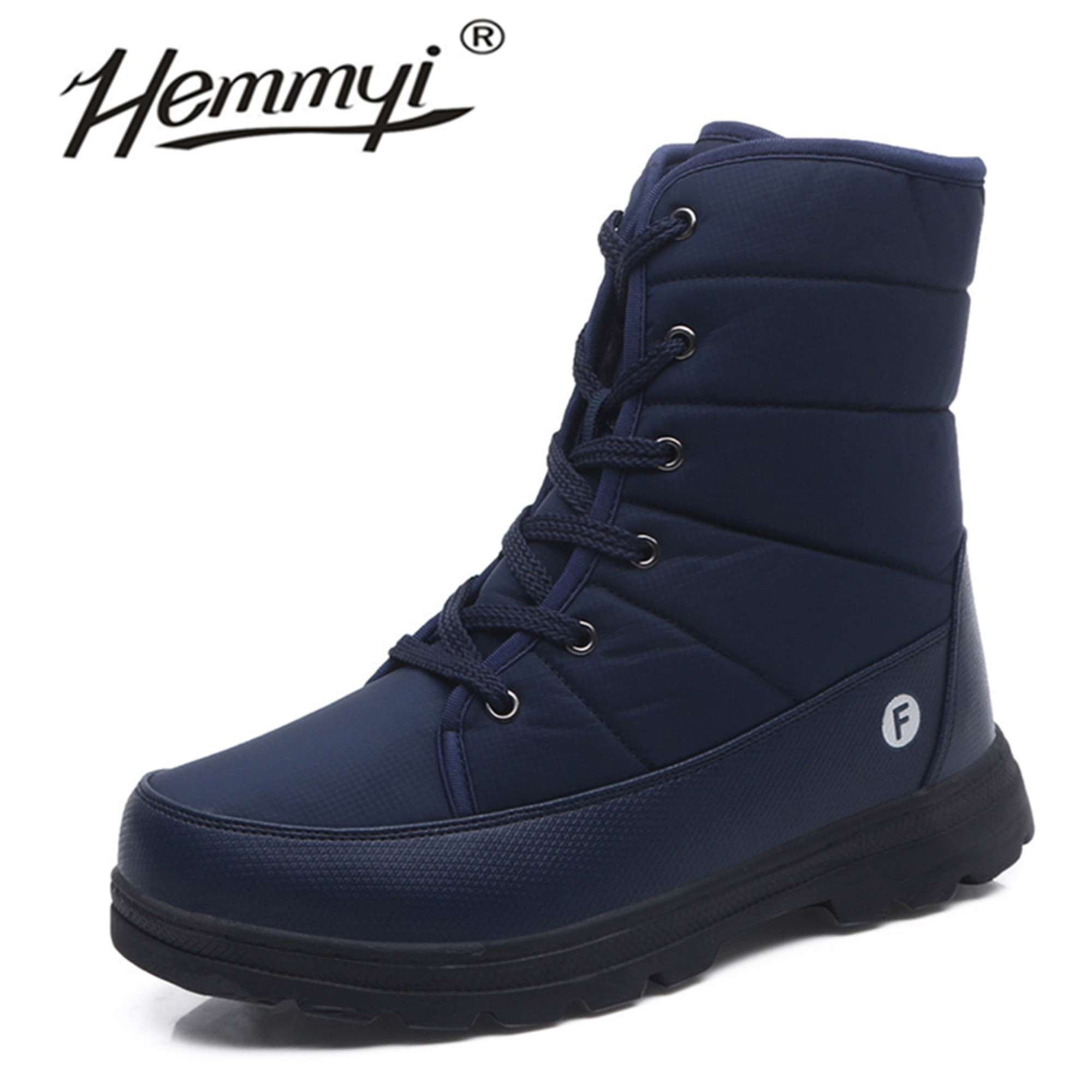 Hemmyi Winter Boots Men Waterproof Lace-up Couple Snow Boots High Quality Keep Warm Outdoor Men Shoes Support Dropshipping