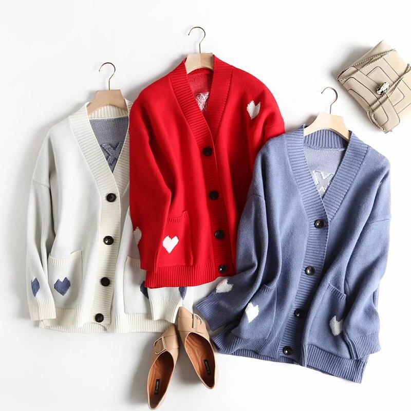 Chic simple boutonnage doux coeur imprimé bleu Cardigans pulls 2019 automne-hiver femmes rouge chandail pour jolie fille belle tricoté