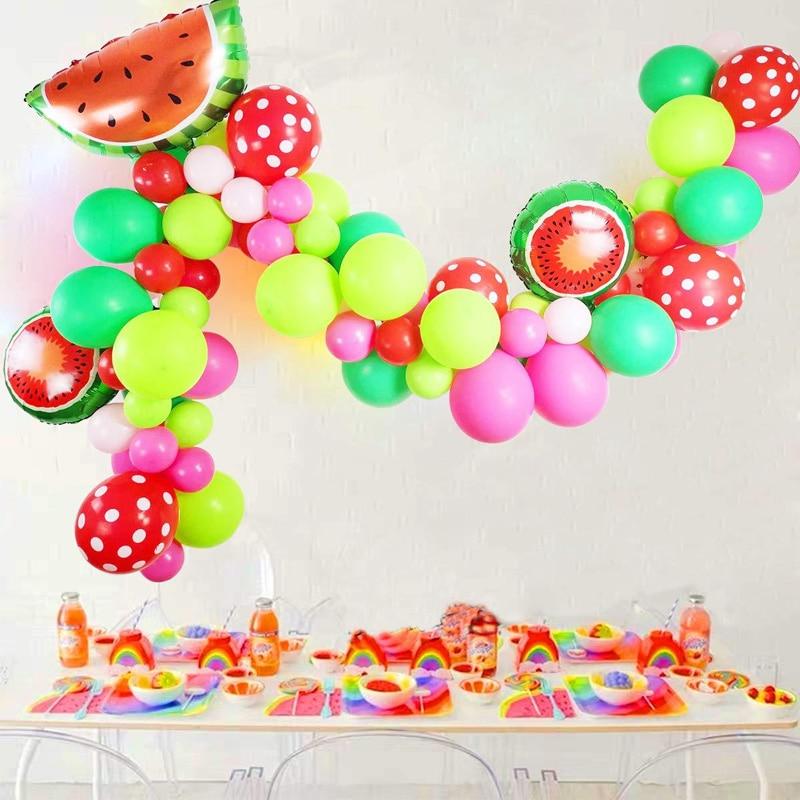 80pcs Baby Shower Children Birthday Party Balloon Decorations Colorful Latex Balloon Garland Arch Kit Watermelon Foil Ballon