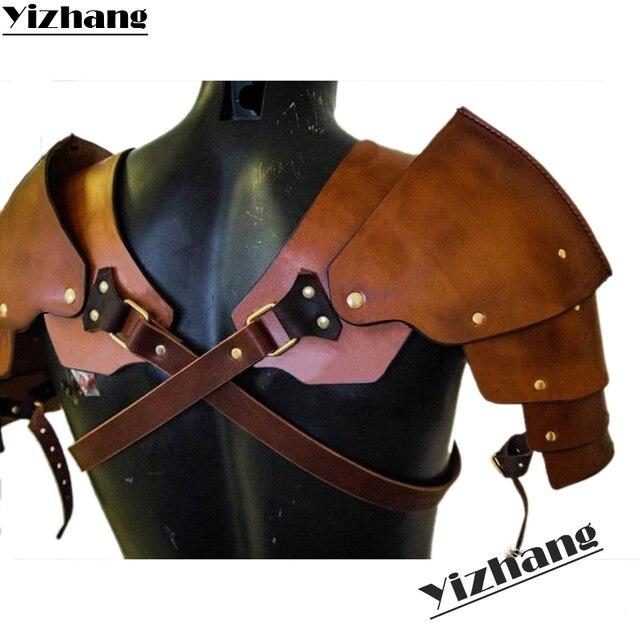 Yizhang Medieval Viking Warrior Gladiator Samurai Battle Knight Pauldrons Shoulder Armor Renaissance Vintage Party props Cosplay