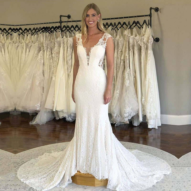 Eightale Lace Wedding Dresses Mermaid V-Neck Appliques Custom Made See Through Back White Ivory Bride Dreses Court Train