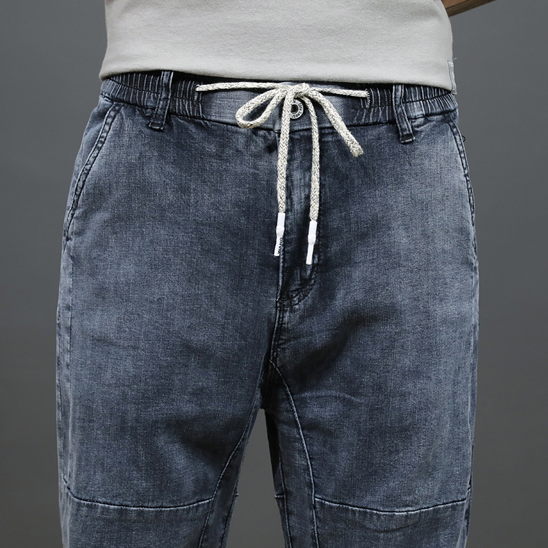 Fashion Streetwear Men Jeans Light Gray Loose Fit  Harem Jeans Men Hip Hop Joggers Pants Elastic