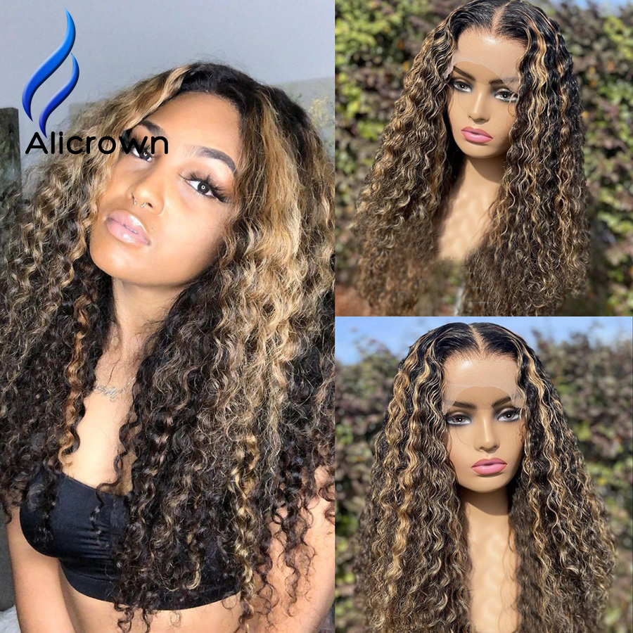 ALICROWN Highlight 13*6 Curly Human Hair Wigs For Women Brazilian Lace Front Wigs Bleached Knots Non-Remy Lace Wigs