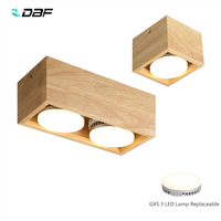 [DBF]Nordic Wood Square LED Surface Mount Downlight + Replaceable LED Lamp 14W 18W 24W LED Spot Light for Living room Bedroom
