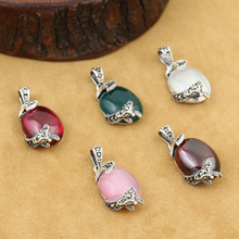 925 Sterling Silver Jewelry Retro Thai silver Women Five Style Models Exquisite Fox Inlaid Marcasite Opal Small Pendant недорого