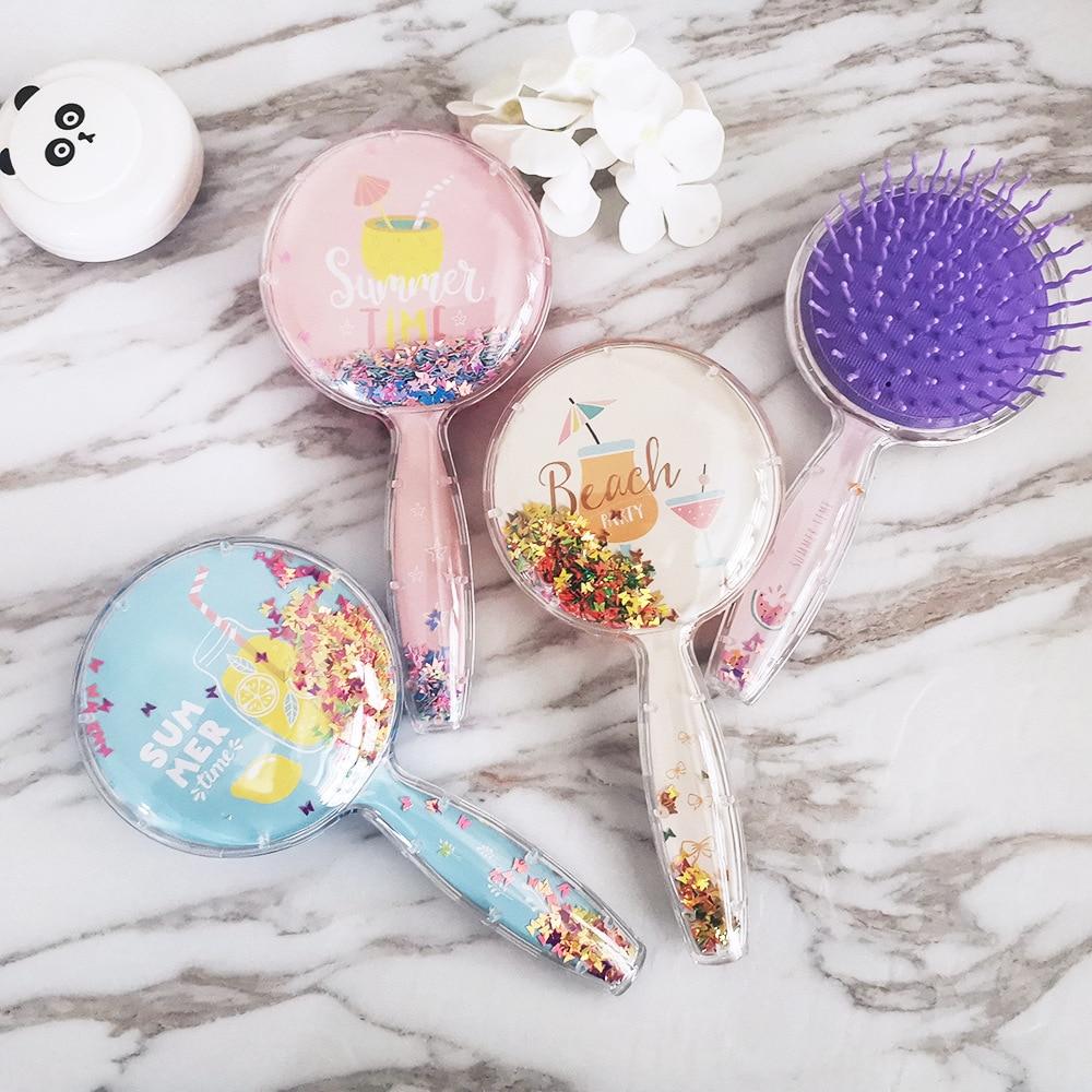 Cartoon Cute Sequins Fruit Round Anti-static Hair Brush Massage Comb Shower Wet Detangle Hair Brush Salon Hair Styling Tools